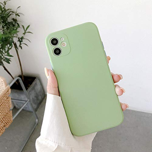 AAA&LIU Funda de Silicona líquida Cuadrada para iPhone 11 Pro X XR XS MAX 7 8 Plus Carcasa Trasera Suave a Prueba de Golpes de Color Caramelo, Verde, para iPhone 11 Pro