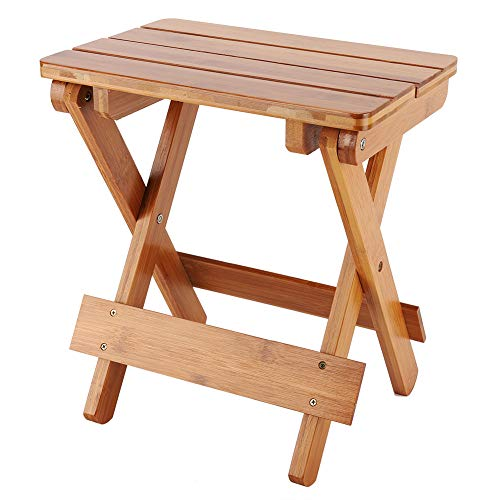 Weikeya - Taburete cuadrado de madera, taburete plegable resistente de madera maciza, práctico y versátil