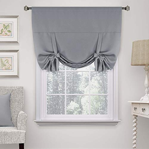 """H.Versailtex Premier Thermal Insulated Blackout Curtain Tie Up Window Shade (Rod Pocket Panel) - 42"""" Wide by 63"""" Long - Dove Gray"""