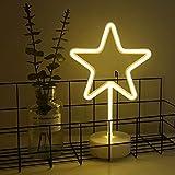 neón signos de luz, estrella LED Neon Signs lámparas con pedestal LED de neón con batería o USB Operación, Luces de la noche de luz de neon decoración neón para Navidad, fiesta de cumpleaños, sala de