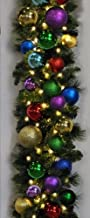 Queens of Christmas 9' Warm White LED Blended Pine Garland Decorated with The Royal Collection, WL-GARBM-09-ROYAL-LWW, Pla...