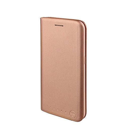 Nouske Lederklapphülle für Samsung Galaxy S6 Edge Hülle Tasche handgefertigt geschwungene Kanten mit Aufsteller und Kartenfach Schutzhülle TPU Cover Pink Gold.