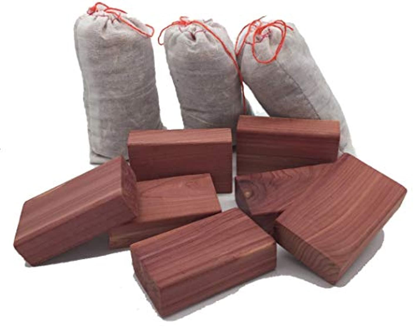 PTCLTRAPS8 Closet Essentials Red Cedar Blocks and Cedar Sachet Clothes Protector Moth Repellent Storage Accessories Value Pack (10 Items)