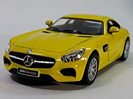 "1/36 scale diecast collectible model car This Mercedes Benz SLS AMG is 5""L x 2""Wx 1.25""H Openable doors and pull back motor action Yellow"