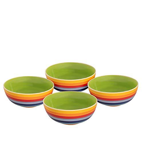 Laeto Lot de bols en céramique à rayures couleur arc-en-ciel parfait pour le petit déjeuner, la soupe ou le dessert Ornés d'un joli motif arc-en-ciel pour égayer votre cuisine et votre humeur