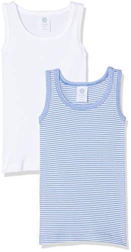 Sanetta Jungen 333516 Unterhemd, Blau (Riviera 50094), 104 (2er Pack)