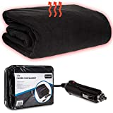 Fineway 12V Large Electric Heated Car Van Truck Fleece Cosy Warm Blanket Travel DC - Size 100 x 140