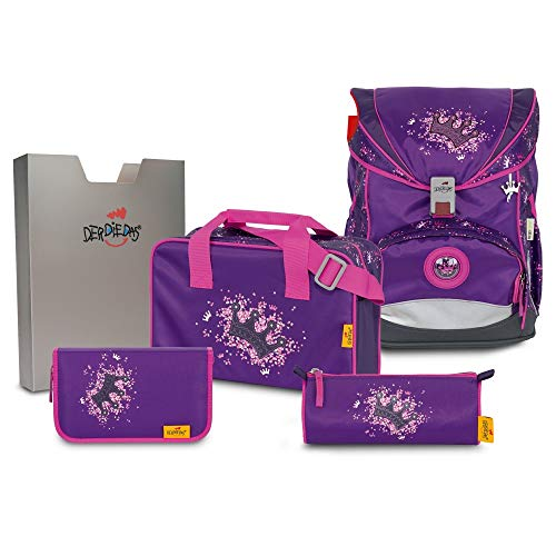 DerDieDas Ergoflex Superlight Schulrucksack Set 5 tlg. Purple Princess