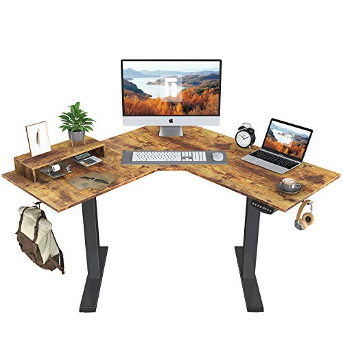 FEZIBO L-Shaped Electric Standing Desk, 48 Inches Height Adjustable Corner Desk, Full Sit Stand Home...