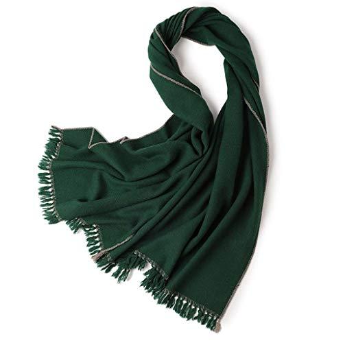 SUFLANG sjaal lange lichtgewicht mode sjaal herfst winter warme dames sjaals effen kleur met franje sjaal WrapsValentine's Day/Kerstmis/Thanksgiving gift Groen
