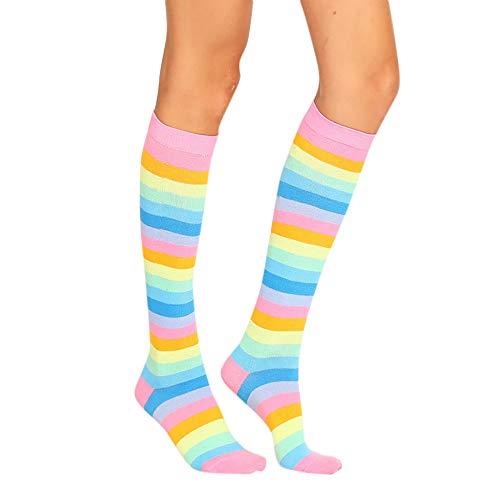 AmyGline Damen Farbstreifen Socken Strümpfe Leggings Karneval Kostüm Fasching