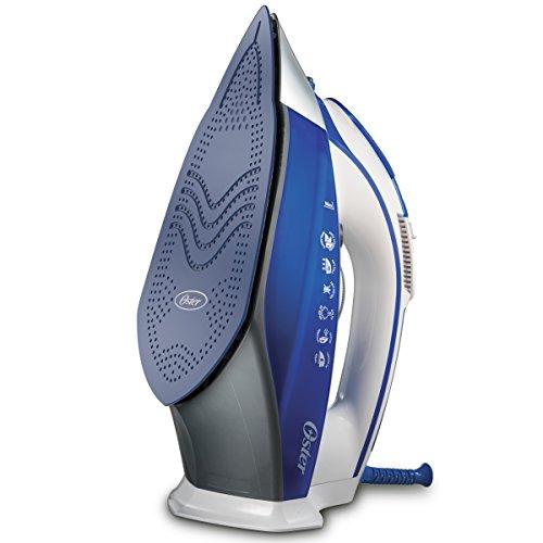 Plancha de vapor Oster con suela de cerámica avanzada y rendimiento superior del vapor en Azul y blanca