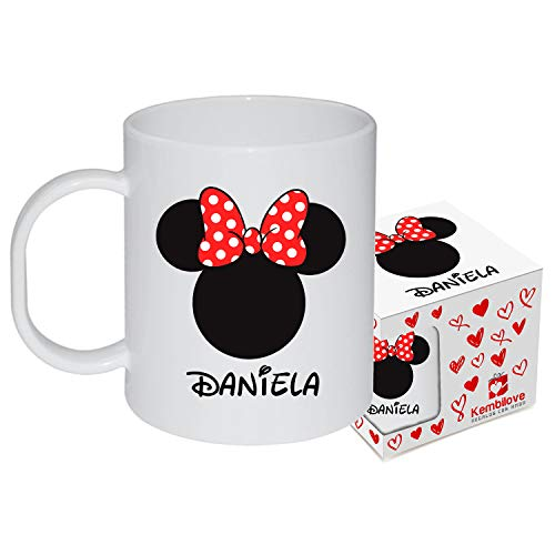 Kembilove - Taza de Desayuno Infantil Personalizada – Tazas Plástico Personalizadas con el Nombre del Niño o Niña Niños – Vuelta al Cole – Taza Plástico Minnie