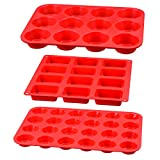 Silicone Muffin Pan - Silicone Molds Including Mini 24 Cups, Regular 12 Cups Muffin Pan & 12 Cavities Mini Loaf Pan 100% Food Grade Silicone, 3-in-1 Set for Egg Muffin, Cupcakes, Brownies, Fat Bombs