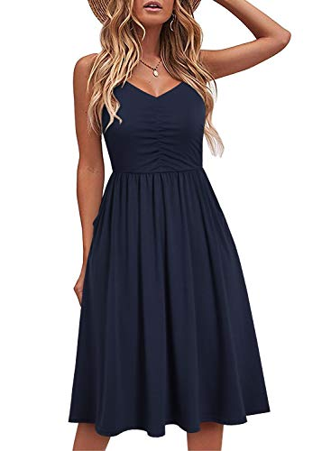 YATHON Casual Dresses for Women Sleeveless Cotton Summer Beach Dress A Line Spaghetti Strap Sundresses with Pockets (L, YT090-Navy)