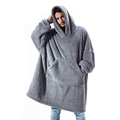 Manta con capucha con mangas y bolsillo, gran tamaño, forro polar suave, talla única, para hombres y mujeres, adolescentes y adolescentes