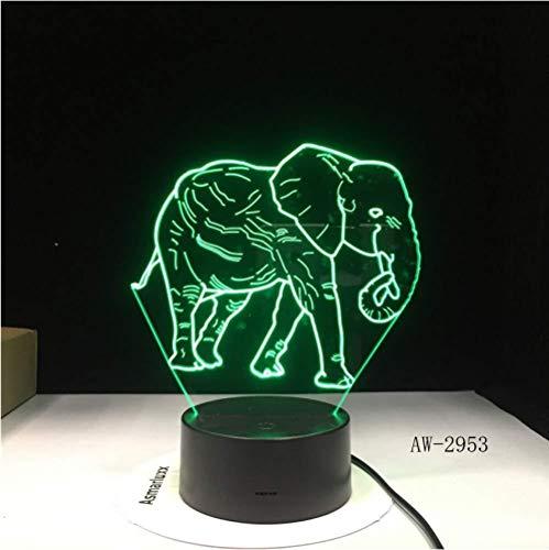 Illusion LED Nachtlicht Happy Elephants 7 Color Lamp 3D Visuelle Nachtlichter für Kinder Touch USB Tischlampe Baby Sleeping Nightlight