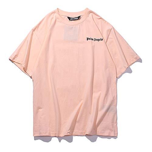 Mannen Vrouwen T-shirt Tide merk Palm Angel korte mouwen Casual effen kleur ronde hals katoenen T-shirts,Pink,M