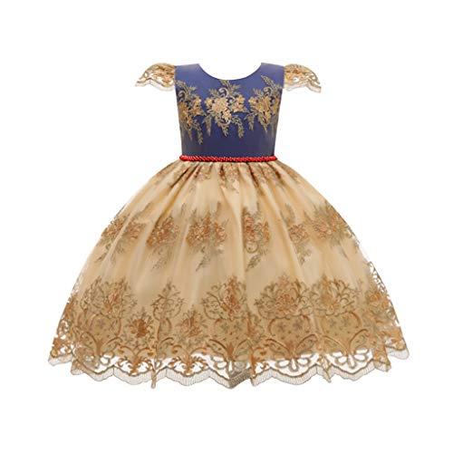 Sayla Enfants Lourds Mouche Manches Robe De Couture Broderie De Fleurs En Dentelle Jupe Princesse Partie Jupe Robe De Bal 2-8 Ans