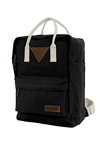 Ansvar II Rucksack aus Bio Baumwoll Canvas - Hochwertiger Damen & Herren - Nachhaltig mit Fairtrade Cotton, GOTS & Grüner Knopf Zertifizierung, Farbe:schwarz