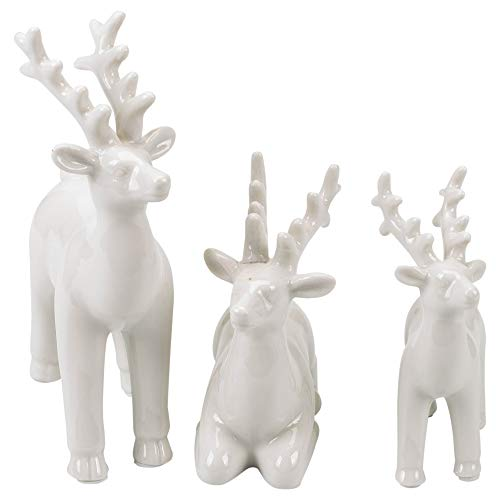 Transpac Imports, Inc. Reindeer Glossy White 7 x 5 Porcelain Christmas Holiday Figurines Set of 3