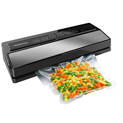 GERYON Vacuum Sealer Machine, Automatic Food Sealer for Food Savers w/ Starter Kit|Led Indicator Lights|Easy to Clean|Dry & Moist Food Modes| Compact Design (Silver)
