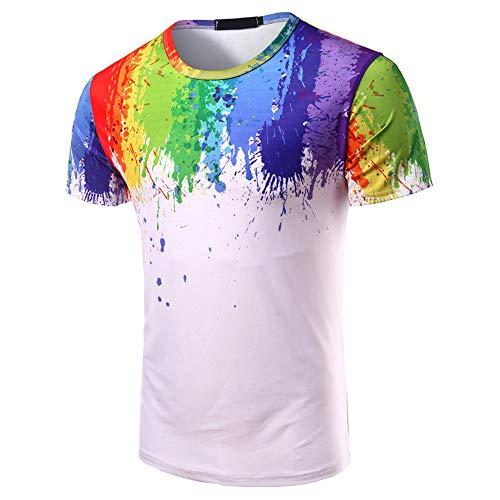 KXZD Herren Hip Hop T-Shirts Bunte 3D-Farbe Kurzarm Splatter Print 3D-Druck T-Shirt Sommer T-Shirt Herren Malmuster T-Shirt 3D Kurzarm Lustige T-Shirts Tops Mode O-Neck T-Shirt