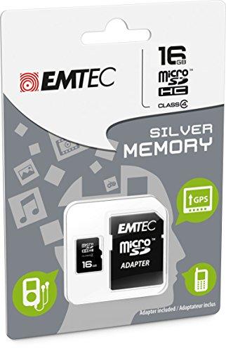 16GB Speicherkarte für Wiko Rainbow Jam 4g–Micro SD Class 4+ SD-Adapter–EMTEC