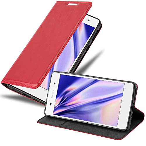 Cadorabo Hülle für Sony Xperia E5 - Hülle in Apfel ROT – Handyhülle mit Magnetverschluss, Standfunktion & Kartenfach - Hülle Cover Schutzhülle Etui Tasche Book Klapp Style