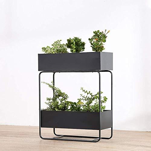 Estante de metal nórdico para plantas, creativo, rectangular, de 2 niveles, para...