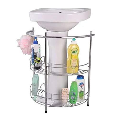 YXZLY Standwaschbecken, mit 2 Ablageflächen und Handtuchhalter, verchromt, Halbrunder Standfuß, zur Aufbewahrung von Küchen- und Badmöbeln