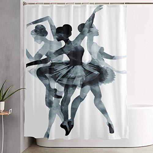 VINISATH Duschvorhang,Ballett Mädchen Ballerina Sketch Dance Tänzer,wasserdichter Badvorhang mit 12 Haken Duschvorhangringen 180x180cm