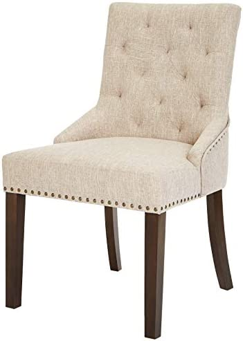 Best Red Hook Martil Tufted Upholstered Dining Chair with Nailhead Trim - Set of 2, Biscuit Beige
