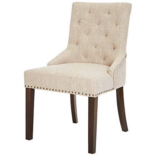 Red Hook Martil Tufted Upholstered Dining Chair with Nailhead Trim - Set of 2, Biscuit Beige