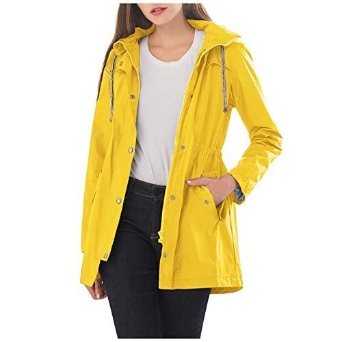 WMNU 2020 Autumn Coat Hooded Waterproof Zipper Mid-length Jackets Women Windproof Loose Solid Casual Raincoat Jacket Yellow