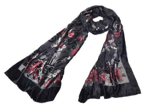 Nella-Mode Festlich-Elegante Seidensamt-Ausbrenner-Stola; Dévoré Seidenschal mit floralem Muster; Schal aus 65% Seide 35% Viskose; Hauptfarben: Schwarz, Bordeaux, 175x48cm, Handrolliert
