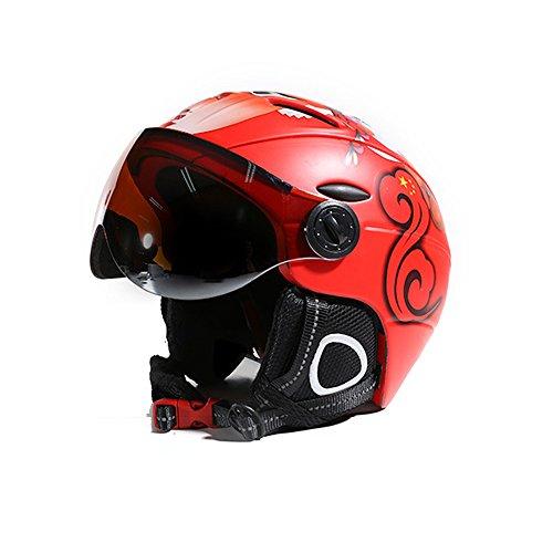 ZoliTime 2-in-1 Skihelm + Brille Snowboard integrierte Männer und Frauen Schutzausrüstung Skibrille (XL, rot)