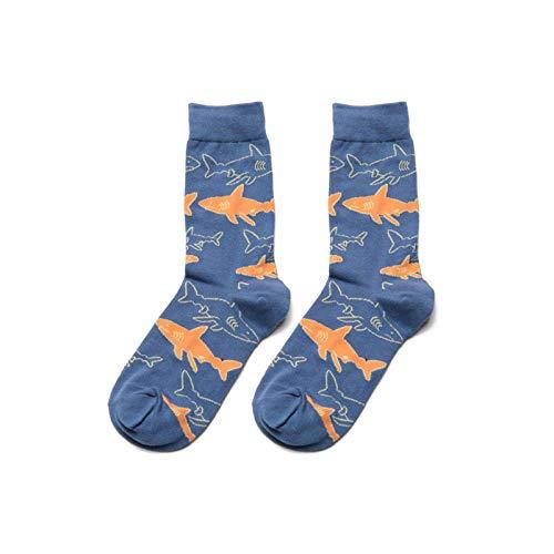 Heren hardloopsokken 3 paar mannen sokken gekamd katoen cartoon dier vogel haai Zebra zee voedsel geometrisch nieuwigheid grappige sokken stijl A