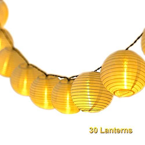 Lampion Lichterkette Draussen Qomolo Wasserdicht Lichterkette Balkon Batterie 30er LED Lampions Laterne Aussen Dekoration für Garten Balkon [Energieklasse A++]