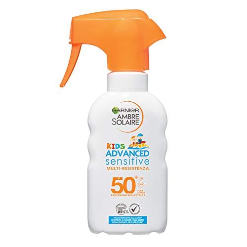 Garnier Ambre Solaire Spray Gachette Protettivo IP 50+ Advanced Sensitive Kids, Protezione Molto Alta, Multi-Resistenza, 200 ml