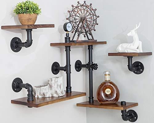 Industrial Rustic Modern Wood Ladder Pipe Wall Mounted Floating Shelves - Set of 3 Bookshelf,DIY Storage Shelving,Hung Bracket,Bookcase