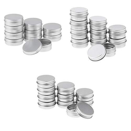 Bonarty Envases Redondos de Aluminio de Lata de Metal para Bálsamo Labial con Tapa Roscada para Bálsamo Labial en Polvo, Paquete 30