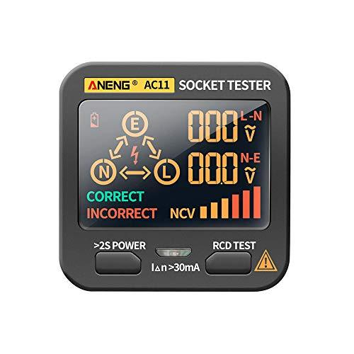 Montloxs AC11 Steckdosentester Elektrischer Lecksucher LCD-Anzeige Erdungskabel Nulllinie Live-Draht Phase Multifunktionales Elektrisches Elektroskop RCD NCV Elektrischer Tester Schaltkreis