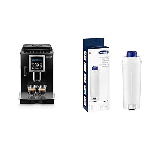 De'Longhi ECAM 23.466.B Kaffeevollautomat mit Milchsystem, Cappuccino und Espresso auf Knopfdruck, 2-Tassen-Funktion, Großer 1,8 Liter Wassertank, schwarz & Original Wasserfilter DLSC002 - weiß