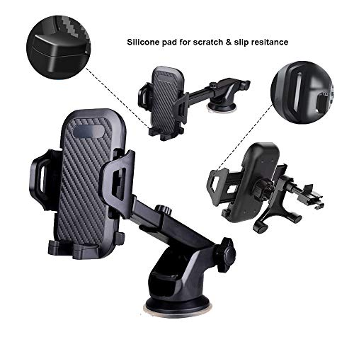 Car Phone Holder, 3 in 1 Arm Adjustable Moblile Phone Holder for Dashboard Windscreen Air Vent, Strong Suction Cup 360° Rotation Car Cradle Smartphone Mount for iPhone 11 Pro Xs Max XR SE 8 Galaxy S9