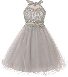 Silver Sparkle Rhinestones Halter Lace Junior Bridesmaid Dress
