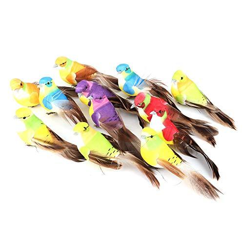 HERCHR 12 Piezas Pajaros Decorativos con Plumas de Adornos de pájaros para decoración de Plantas de Jardín Decoración en Miniatura
