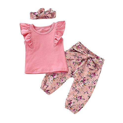 Tonsee Tenues pour Filles, Cute Toddler Baby Ruffles Tops Débardeurs Unis + Pantalon à imprimé Floral + Bandeau