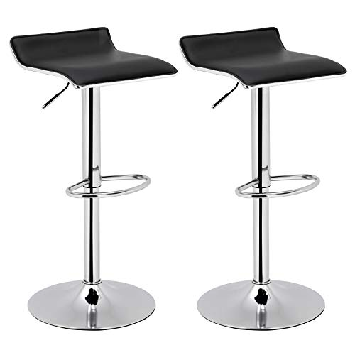 SONGMICS Set of 2 Adjustable Bar Swivel Kitchen Breakfast Counter Stools Modern Hydraulic PU Barstools Black