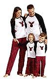 IFFEI Matching Family Pajamas Sets Christmas PJ's with Deer Printed Tee and Plaid Pants Loungewear 9-12Months